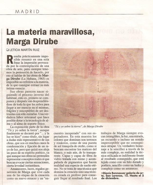 Critica de Leticia Martin Ruiz/El Punto de las artes/938/nov.2008