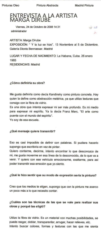 Entrevista publicada en El Contenedor del arte/ Exposición en Dionos Bennassar/Nov.2008/(pag.1)