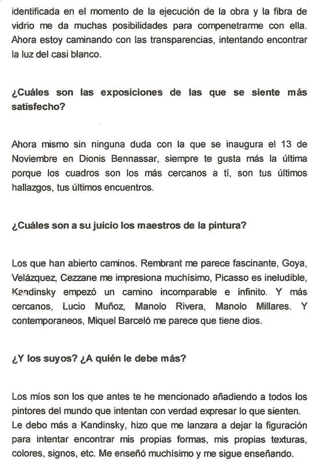 Entrevista publicada en El Contenedor del Arte/Exposición en Dionis Bennassar/Nov.2008/(pag.2)